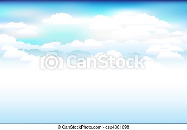 Blue Vector Sky And Clouds  - csp4061698