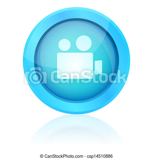 Blue vector video button - csp14510886