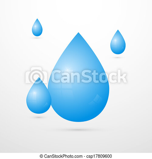 Blue Vector Water Drops Isolated on White Background  - csp17809600