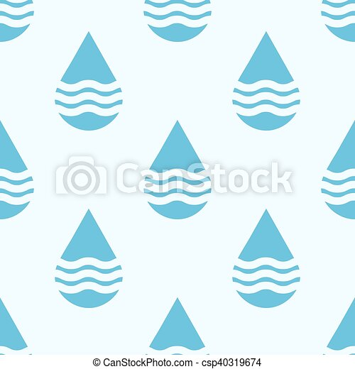 Blue vector water drops seamless pattern - csp40319674
