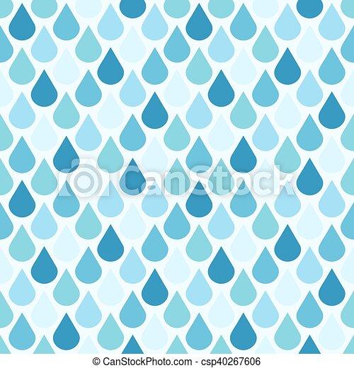 Blue vector water drops seamless pattern - csp40267606