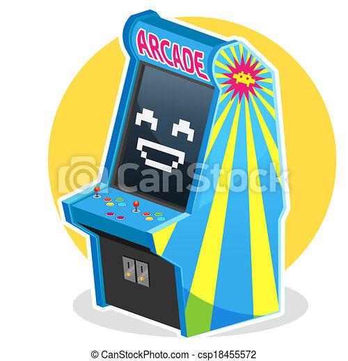 Vectors Illustration of Blue Vintage Arcade Machine Game - Smiling ...