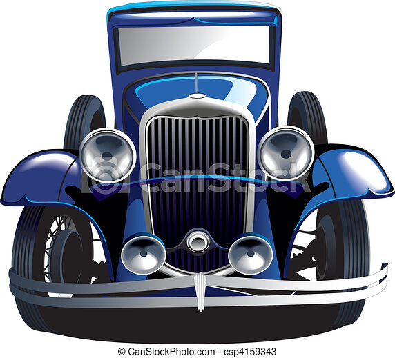 Blue vintage car - csp4159343