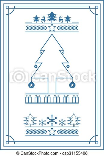 Blue vintage style Christmas banner - csp31155408