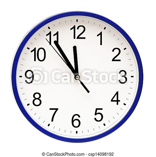 blue wall clock isolated on white - csp14098192