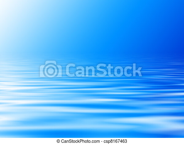 blue water background with horizon - csp8167463
