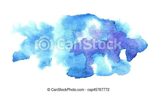 Blue water-colour stains - csp45767772
