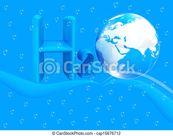 Blue water drops background and formula of water - csp15676712