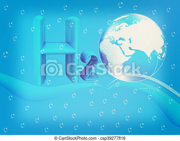Blue water drops background and formula of water. 3D illustration. Vintage style. - csp39277816