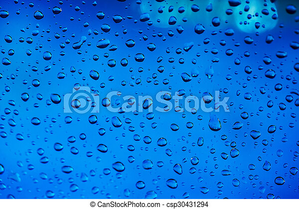 Blue water drops background - csp30431294