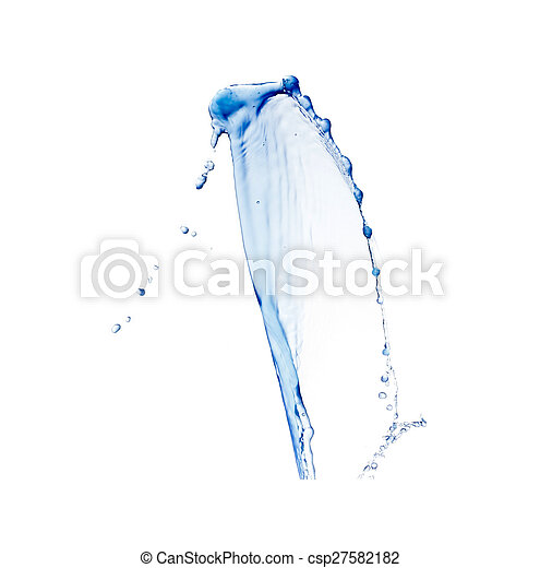 blue water splash isolated on white background - csp27582182