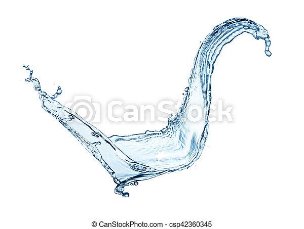 Blue water splash isolated on white background - csp42360345