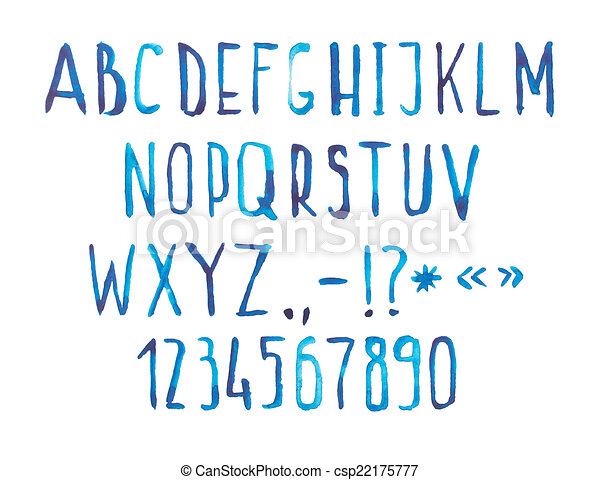 Blue watercolor aquarelle font type handwritten hand draw doodle abc alphabet letters and numbers.  - csp22175777