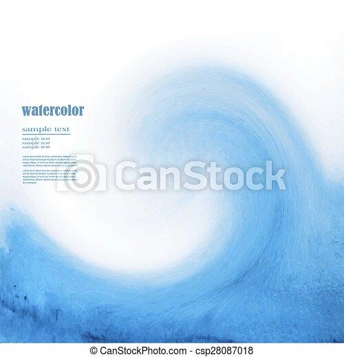 Blue watercolor background sea wave - csp28087018