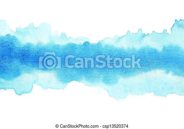 Blue watercolor brush strokes - csp13520374