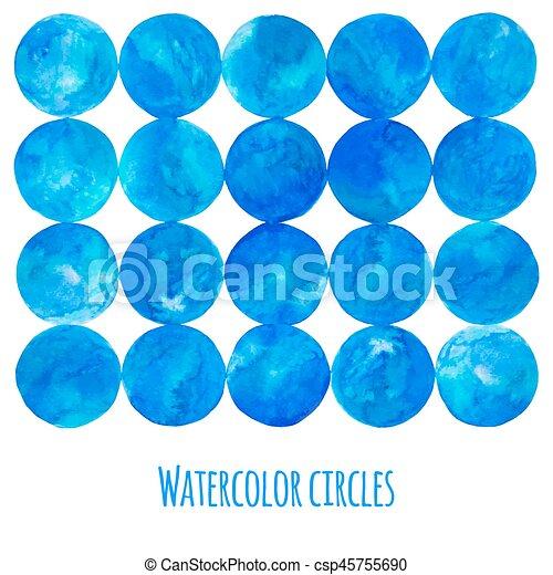 Blue watercolor circle - csp45755690