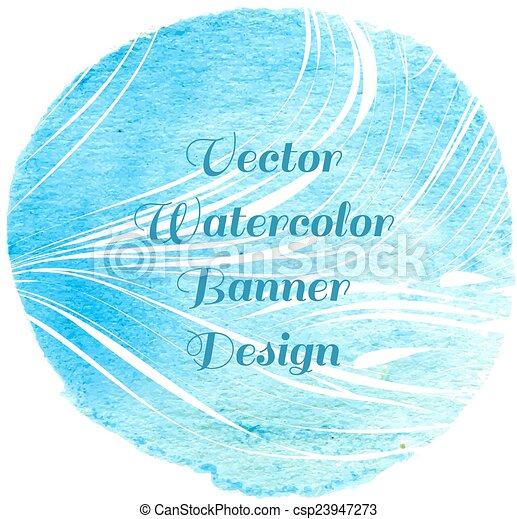 Blue watercolor circle lined  - csp23947273