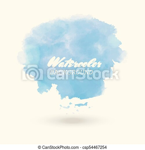 Blue watercolor hand drawn vector