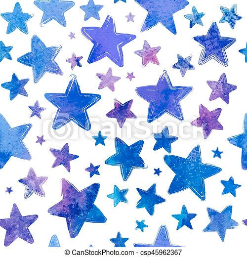 Blue watercolor painted stars vector seamless pattern - csp45962367