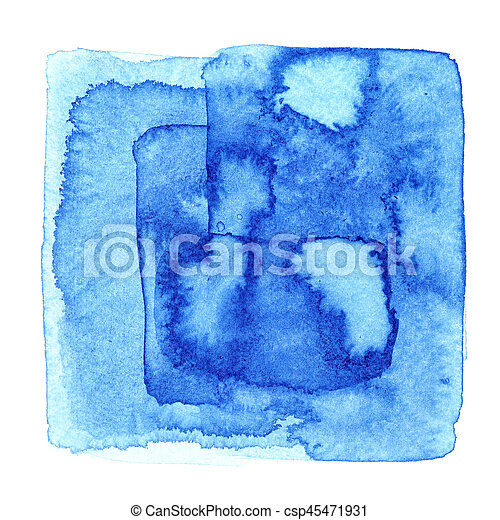 Blue watercolor square with stains - csp45471931