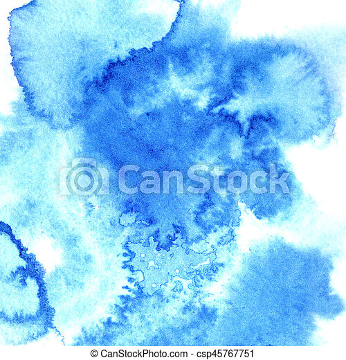 Blue watercolor stains - csp45767751