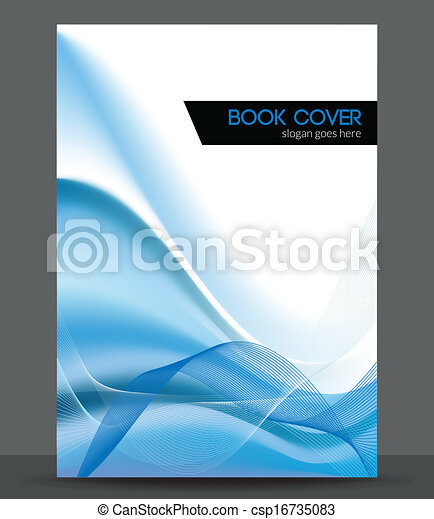 Blue wave vector brochure / booklet cover design template - csp16735083
