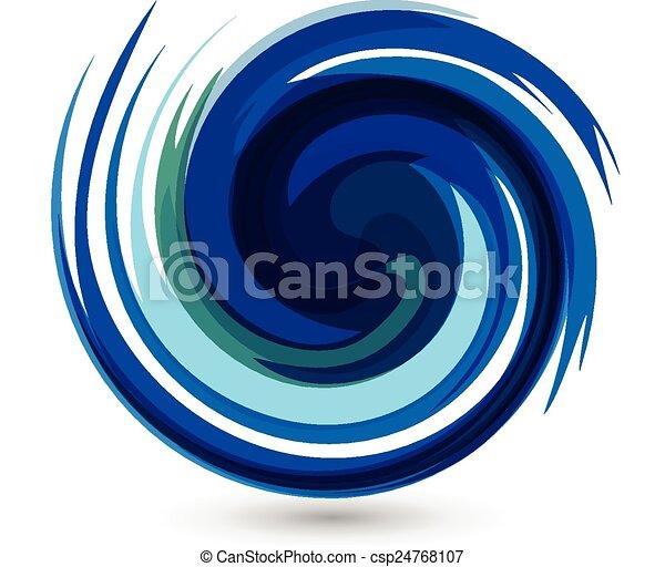 Blue waves splash water vector logo - csp24768107