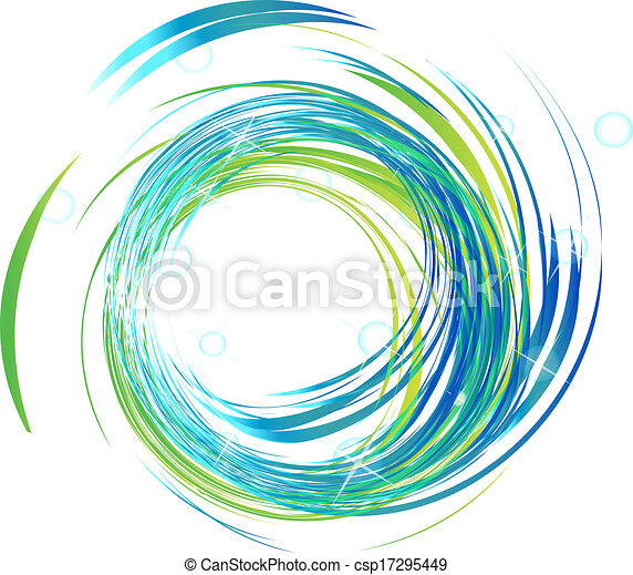 Blue waves with bright lights logo - csp17295449