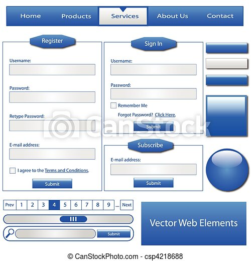 Blue Web Elements - csp4218688