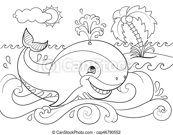 Blue Whale On A Background Of Ocean Coloring For Children Cartoon