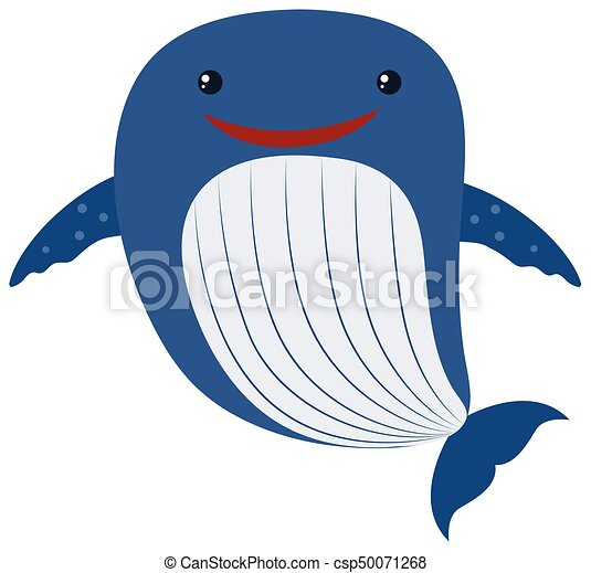 Blue whale on white background - csp50071268