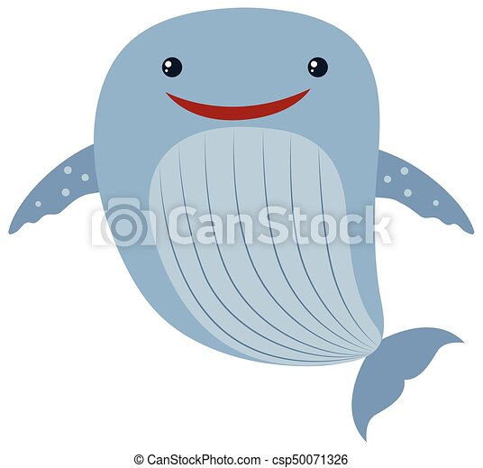 Blue whale on white background - csp50071326