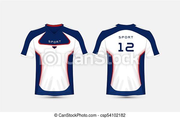 ff38b822 Blue, White And Blue Stripe Pattern Sport Football Kits, Jersey, T-Shirt  Design Template