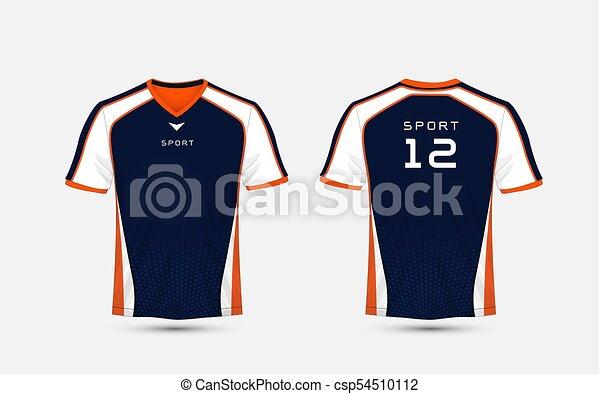 Sport T Shirt Design Templates | Blue White And Orange Pattern Sport Football Kits Jersey T Shirt