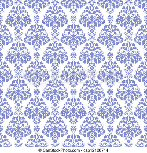 Blue White Damask Seamless Pattern In Medium Light On