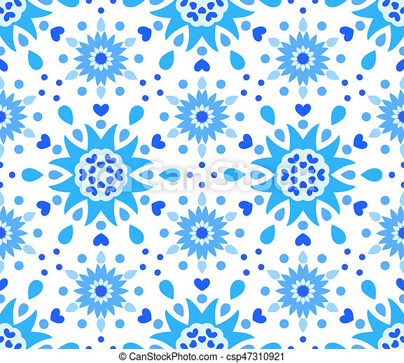 Blue White Flower And Hearts Pattern