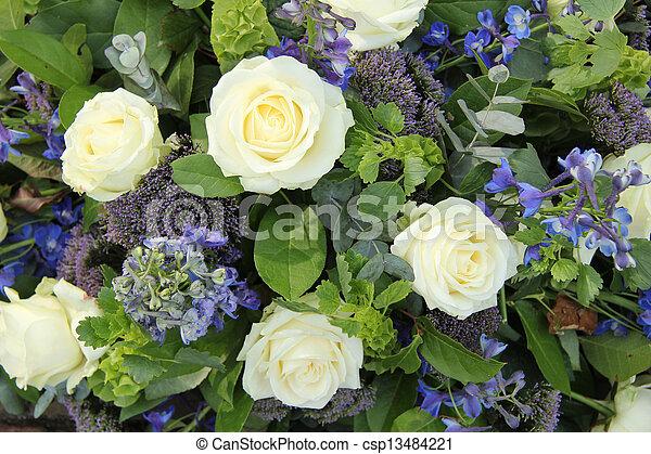 Blue white flower arrangement for a wedding wedding arrangement in blue white flower arrangement for a wedding csp13484221 mightylinksfo