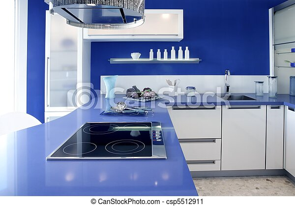 Blue white kitchen modern interior design house - csp5512911