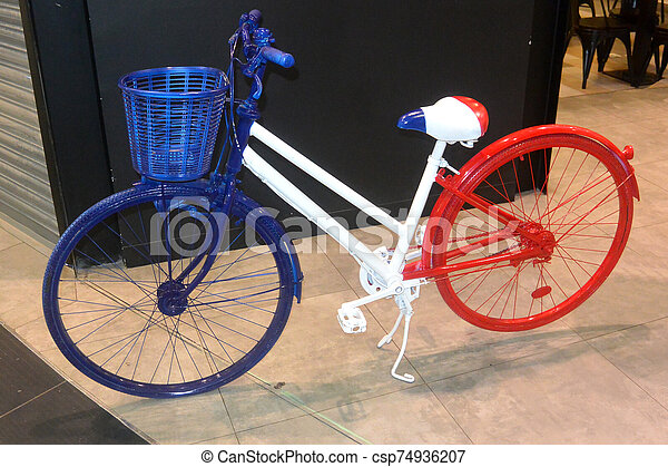 Blue-white-red bike 1, colors of the flag of France, close-up - csp74936207