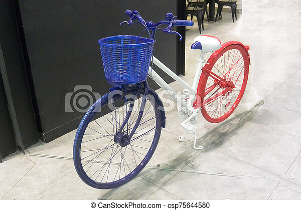 Blue-white-red bike 3, colors of the flag of France, close-up - csp75644580