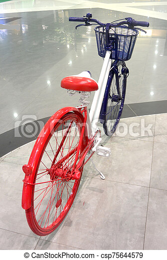 Blue-white-red bike 4, colors of the flag of France, close-up - csp75644579