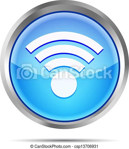 blue wifi icon on a white - csp13706931