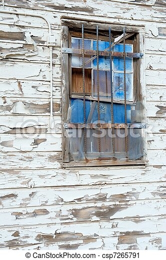 Blue Window on Old Wall - csp7265791