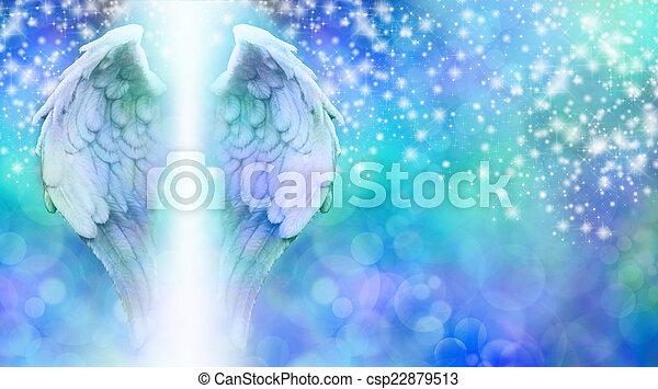 Blue wings on sparkling bokeh - csp22879513