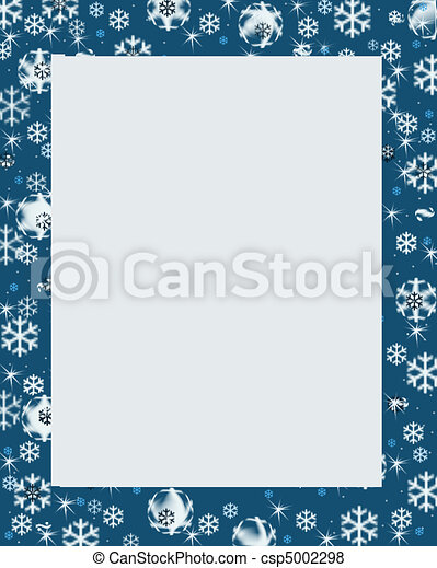 Blue Winter Border Snow Christmas Holiday