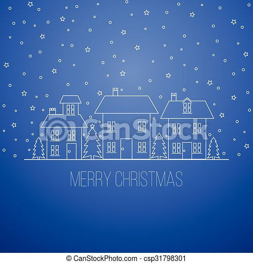 Blue winter Christmas design - csp31798301