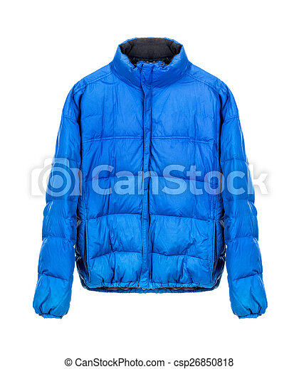 blue winter jacket isolated on white - csp26850818
