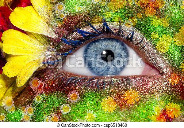 blue woman eye makeup spring flowers metaphor - csp6518460