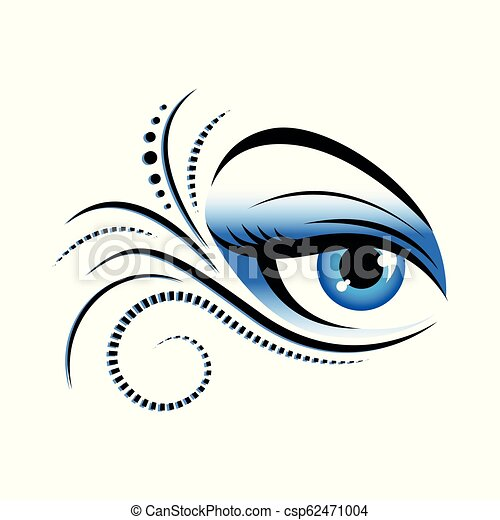 Blue Woman Eye With Special Make Up Vector Illustration Eps10