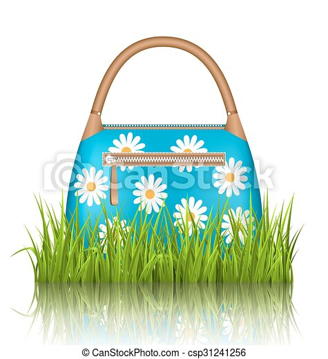 Blue Woman Spring Bag With Chamomiles Flowers In Grass Lawn With